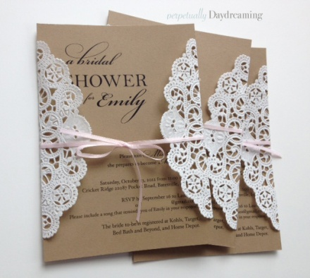 Elegant Country Lace Bridal Shower Invitations