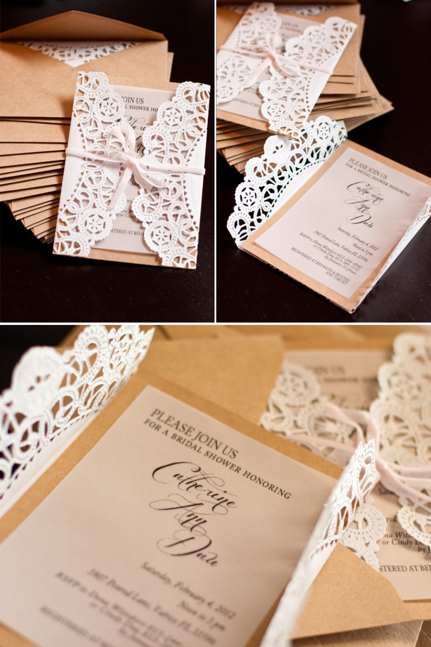 Elegant country bridal shower invitations tutorial perpetually daydreaming - Bridal shower invitations ...