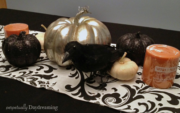 y Halloween table more And kitchen table These runner my decorations. here's silver are target