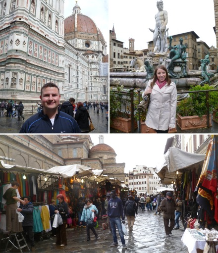 Michael in front of the Duomo, Me in the Piazza Sign, San Lorenzo Market