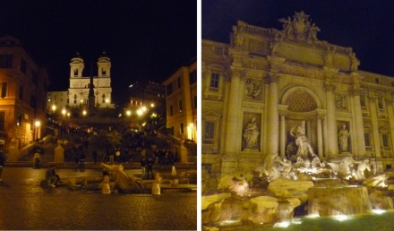 Spanish Steps and Trevi Fountain at Night
