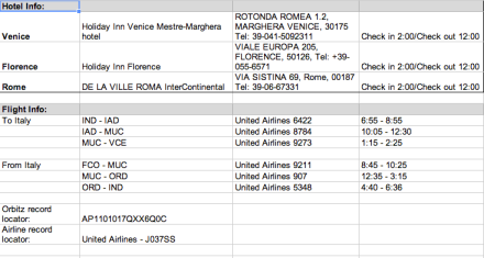 Travel Organizing Important Info