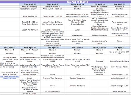 Italy Calendar Itinerary